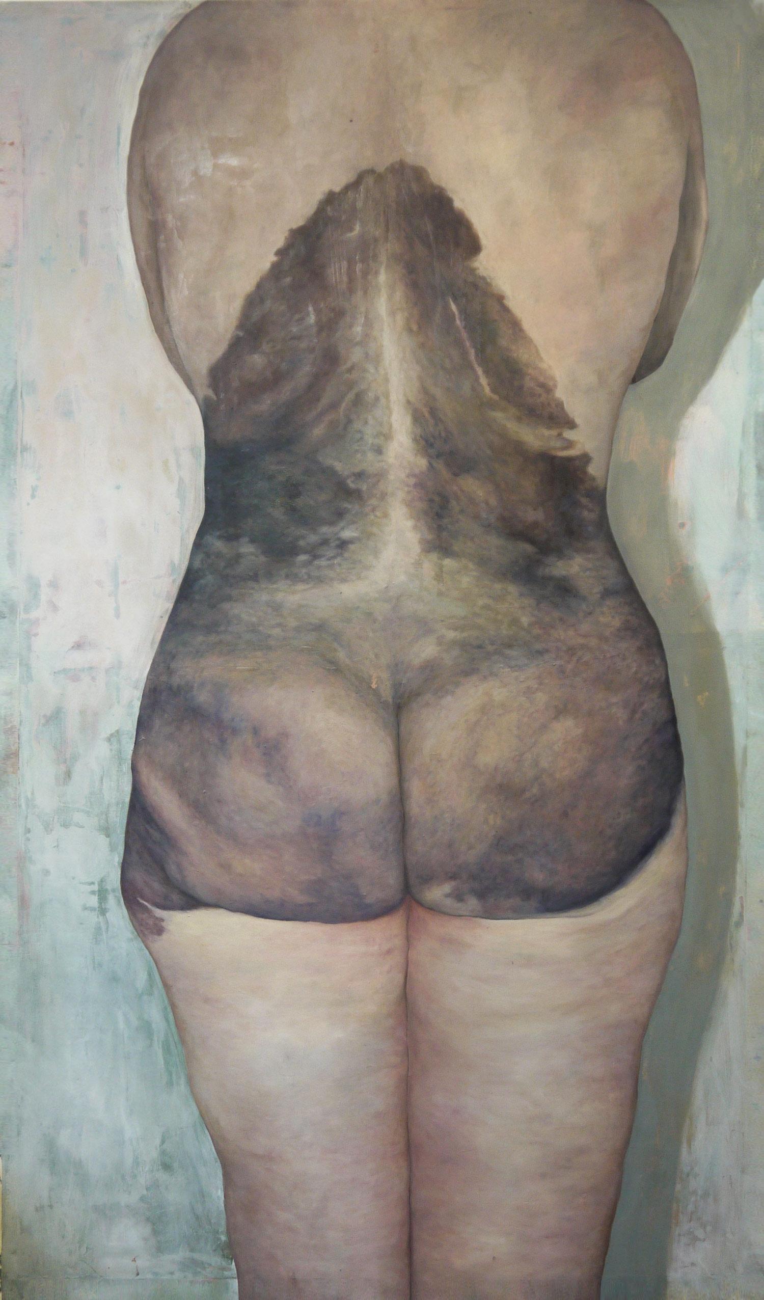 Laura Link . Neavus Flammerus Gigantus 1 . 2014 . Öl, Wachs auf Leinwand . 256 x 150