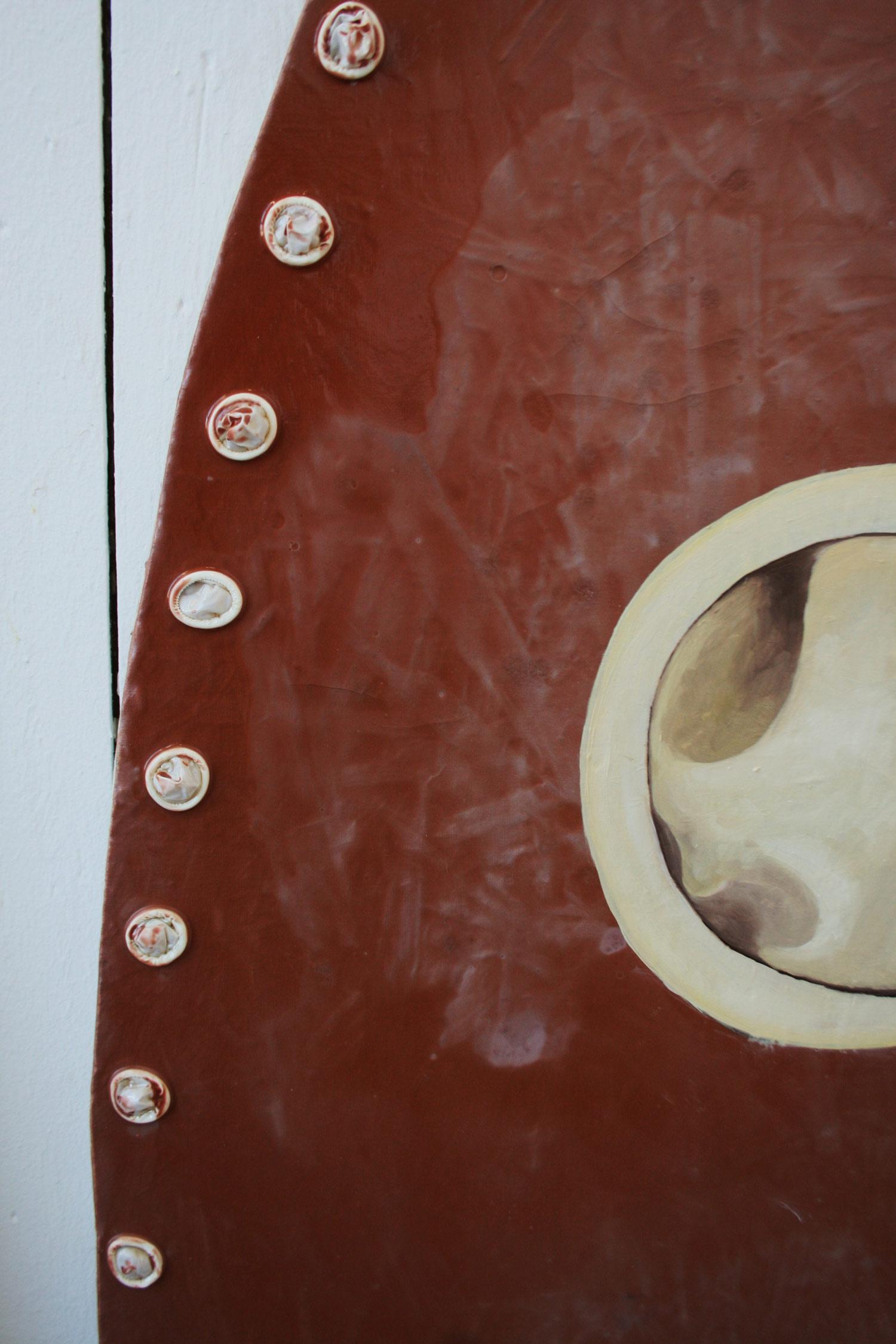 Laura Link . ohne Titel . 2012 . Knochenleim, Fingerlinge, Pigmente, Ölfarbe, Leinwand . 190 x 240 . Detailansicht