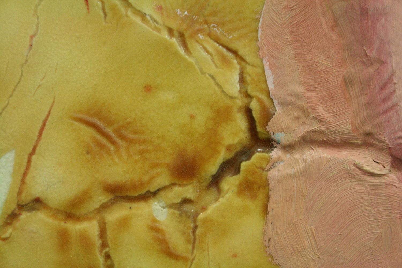 Laura Link . ohne Titel 2012 . Ölfarbe, Klarlack, Salzteig, Holz . 140 x 95 . Detailansicht