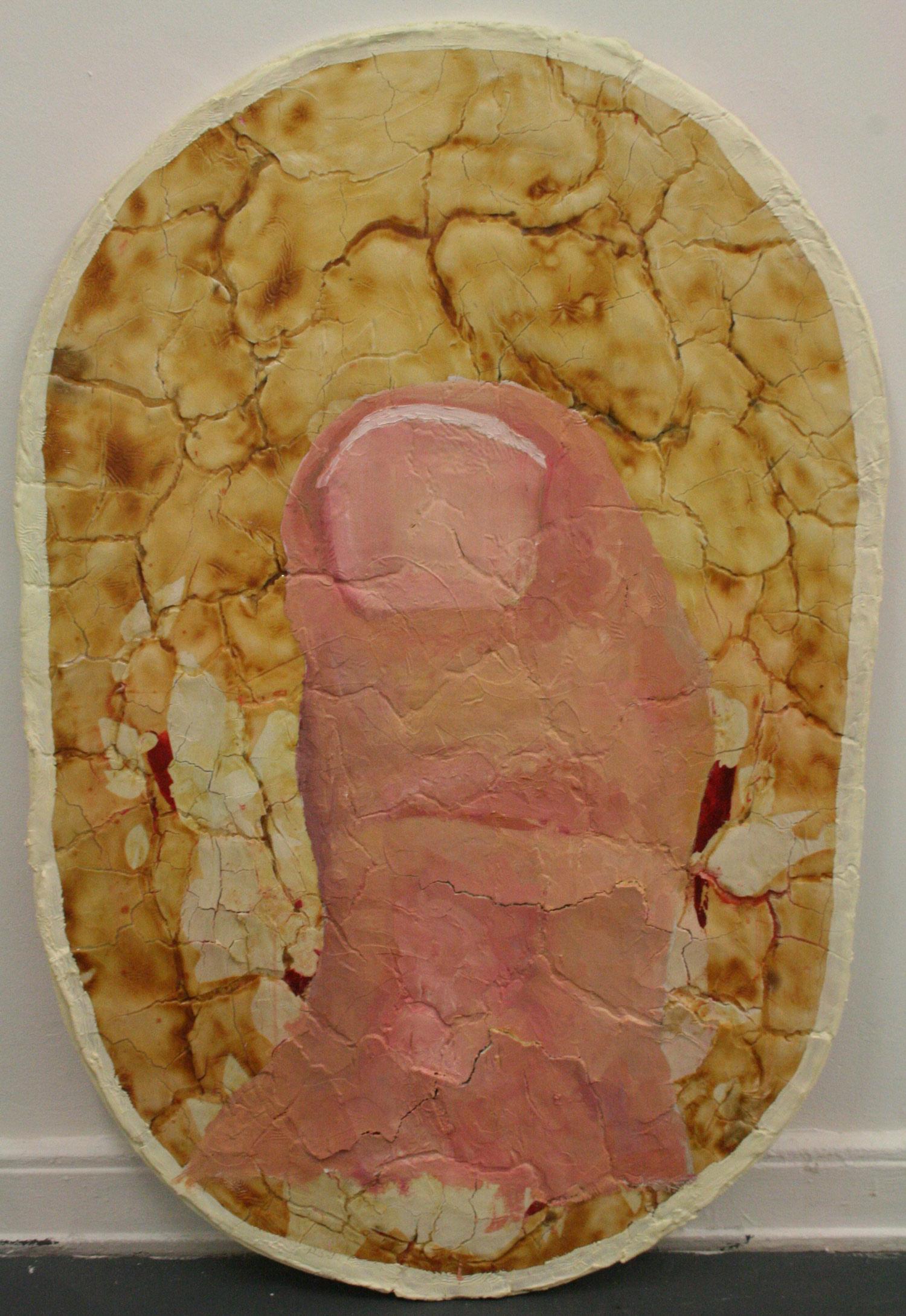 Laura Link . ohne Titel 2012 . Ölfarbe, Klarlack, Salzteig, Holz . 140 x 95