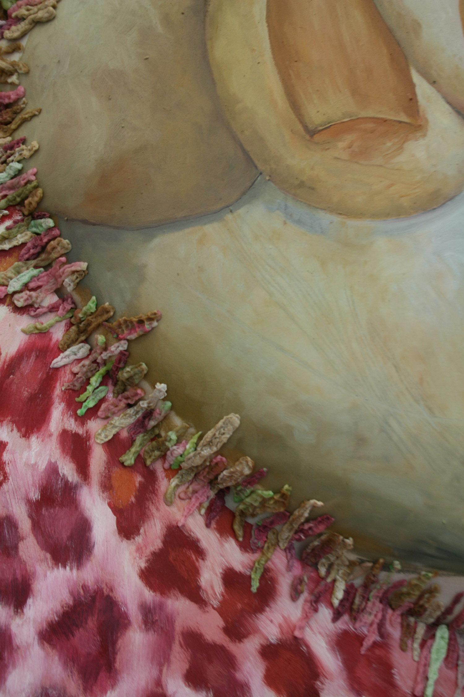 Laura Link . ohne Titel . 2013 . Ölfarbe, Kaugumi, Schaumstoff, Leinwand . 270 x 175 . Detailansicht