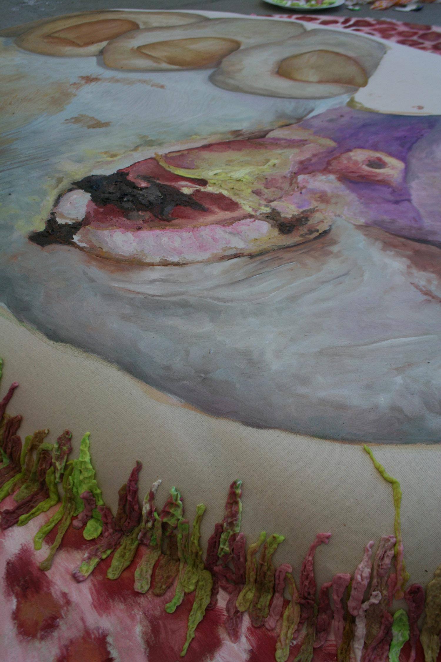 Laura Link . ohne Titel . 2013 . Ölfarbe, Kaugumi, Schaumstoff, Leinwand . 270 x 175 . Detailansicht (liegend)