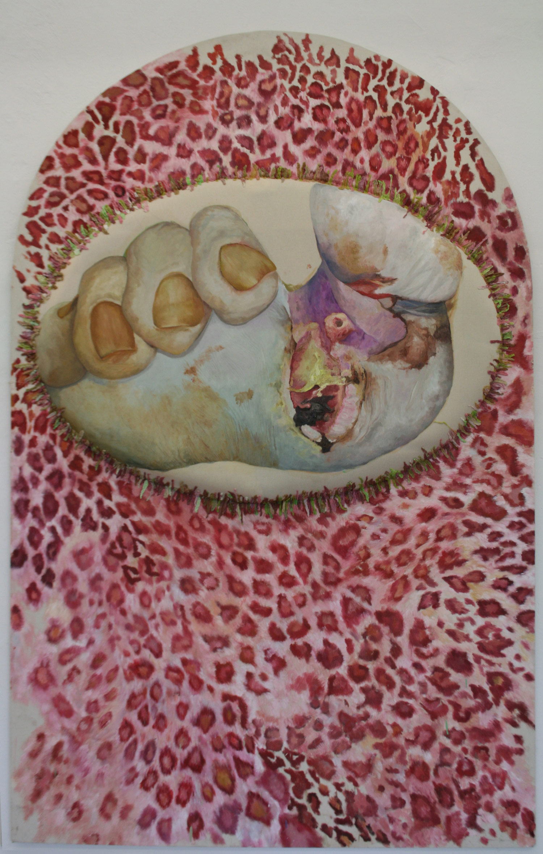 Laura Link . ohne Titel . 2013 . Ölfarbe, Kaugumi, Schaumstoff, Leinwand . 270 x 175