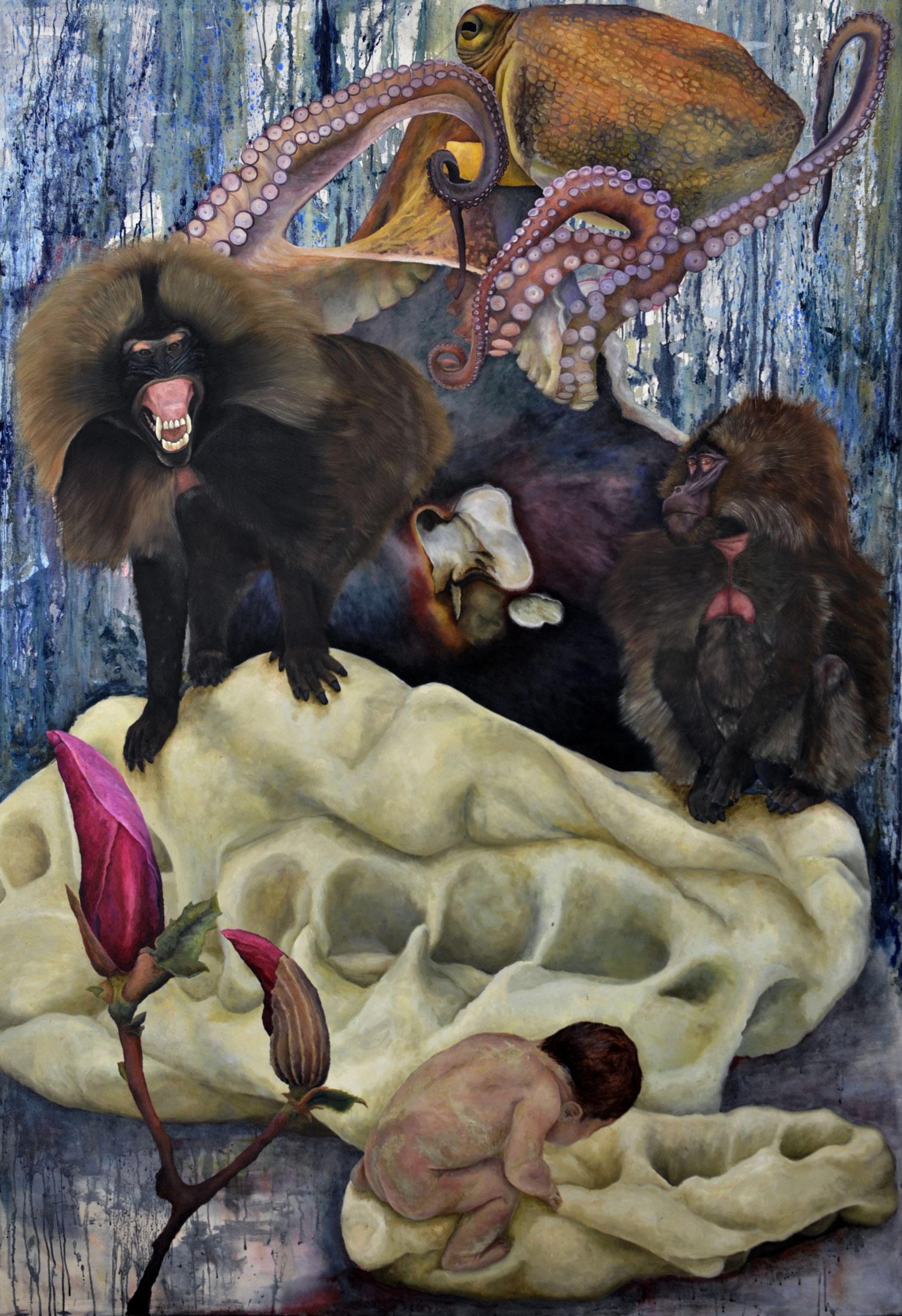 Laura Link . ohne Titel . 2015 . Öl, Tusche auf Leinwand . 260 x 180
