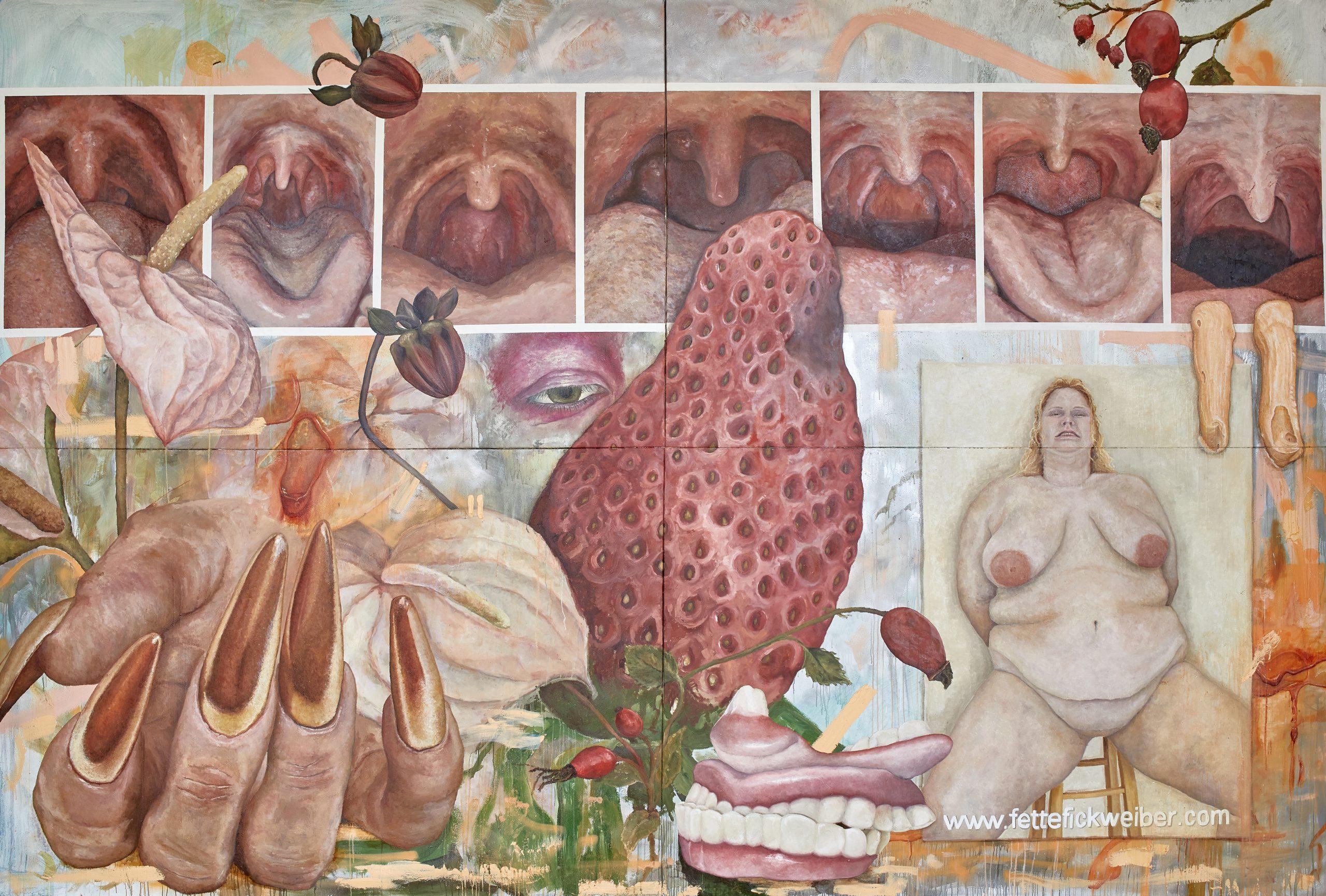 Laura Link, In Effigie www.fettefickweiber.com, 2021, Öl auf Leinwand, 340x500 cm, Foto: Thomas Lorenz