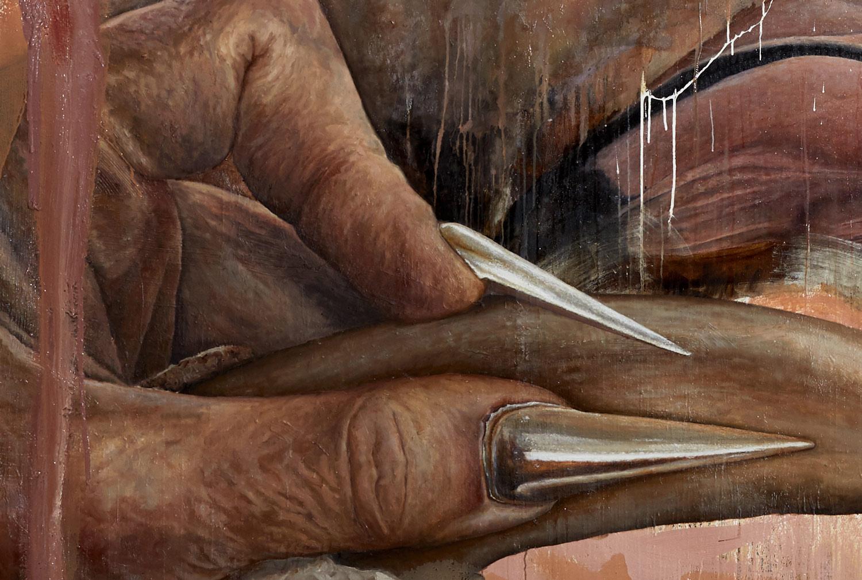 Detailansicht . Laura Link . Badass Nails . 2018 . Öl und Lack auf Leinwand . 300 x 400 cm . Foto: Thomas Lorenz
